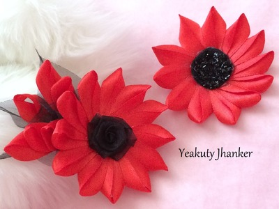 DIY: Make a Kanzashi ribbon flower hair clip.