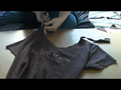 How to make a large t-shirt more fitted with back criss cross knots.