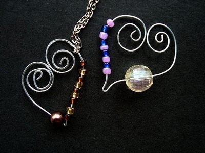 MAKE A SCROLLED HEART CHARM OR PENDANT, for necklace, bracelet, or earrings, wire jewelry