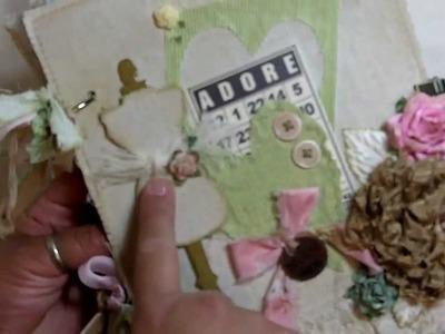 """Adore"" Shabby Chic 7x8 fabric mini album! (Vid # 294)"