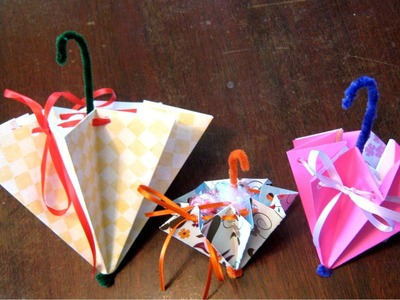 How to fold an umbrella for a wedding or baby shower or Mother's Day card
