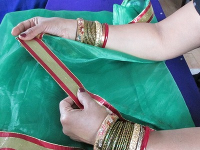 HOW TO PUT LACE OR TRIM ON A NET SAREE AND GIVE IT DESIGNER LOOK.