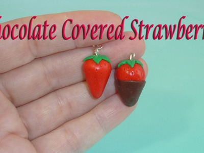 Chocolate Covered Strawberry Polymer Clay Charm