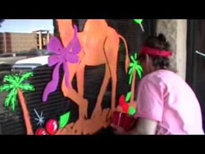 Christmas Window Painting Camel  Kim Cooper PerfectSigns.com
