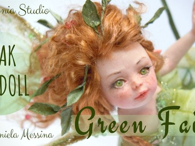 Green Fairy - OOAK Doll sculpted from Polymer Clay