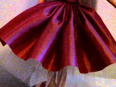 Handmade barbie dress made of peachy pink taffeta stitched by hand!