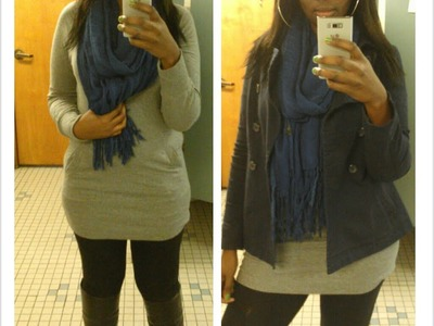 OOTD- Black Leggings, H&M Jacket and Knee High Boots