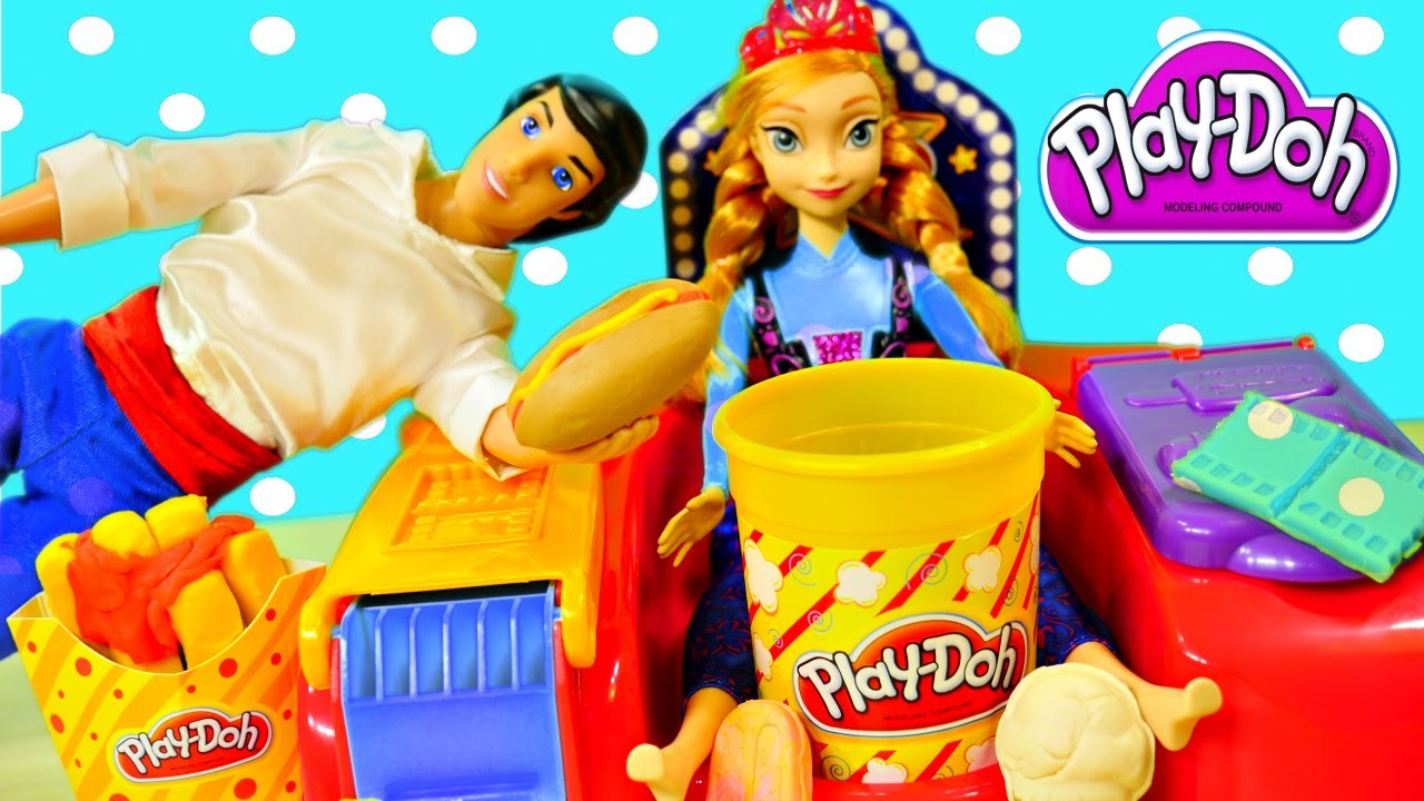 Play Doh Poppin Movie Snacks Playdough Popcorn Ice Cream and Frozen Barbie Anna