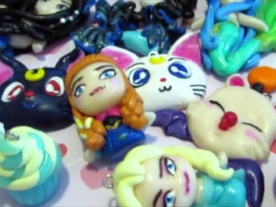 Polymer clay charms. mermaid, frozen, attack on titan, etc.