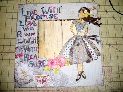 Scrapbook Layout using Gabrielle Pollaco's mix media doll