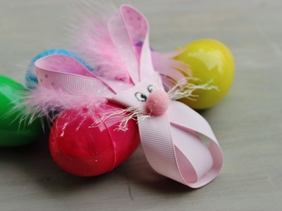 **Easter Bunny Hair bow, Ribbon Hair clip, rabbit jewelry pin