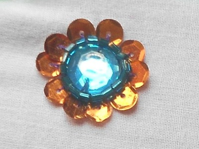 How to sew a sequin flower around kundan stone - Method 1