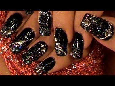 Out of this world BLACK & SILVER nail design