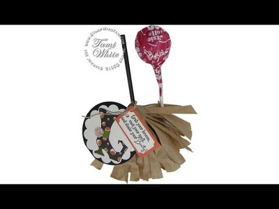 Witches Broom Tootsie Pop Halloween Candy Treats featuring Stampin' Up! products