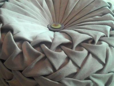 Canadian smocking.capitone round cushion by Debbie Shore. Matrix design.