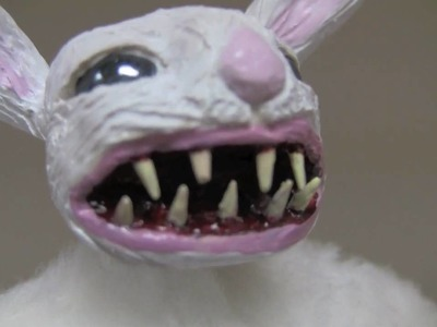 """Clyde The Angry Bunny"" - OOAK Art Doll Sculpted by Amy DeCaro"