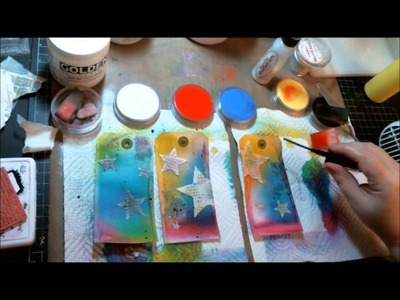 Creative play with Dylusion Sprays and Mediums on tags