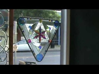 Dichroic Stained glass - 26 inch triangle panel 11a -  Dichroic Glass Man