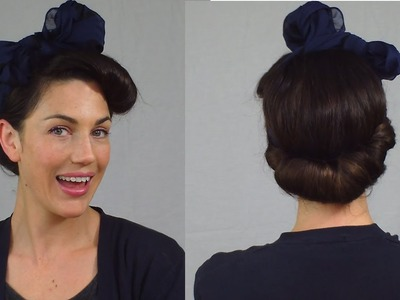 Easy Pin Up Hairstyle : Vintage scarf roll updo - Vintagious
