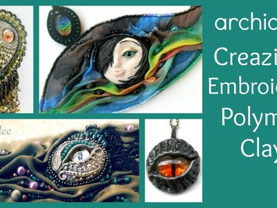 Embroidery | Polymer Clay | Creazioni | Dragon & Eyes Collection | Hand Dyed Silk