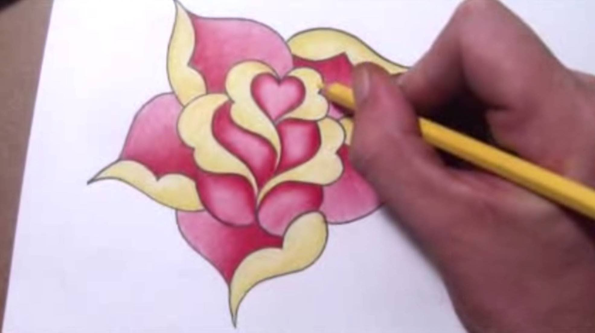 How To Draw a Simple Rose Design With a Heart