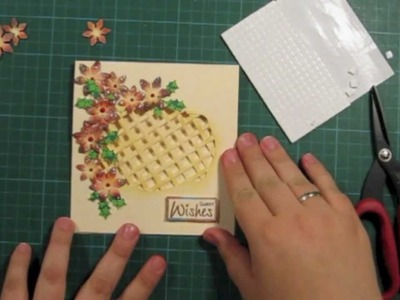How to make a window lattice card with poinsettia flowers - christmas card