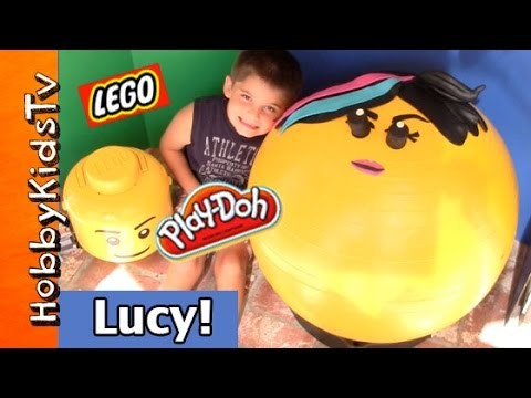 Mega GIANT Wildstyle LEGO Play-Doh Head Surprise! MiniFigures, Bad Pig, Princess, Emmet HobbyKidsTV