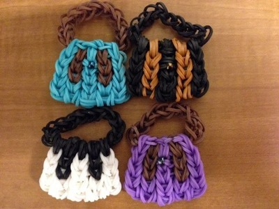 Rainbow loom Mini Handbag. Purse Charm On 5 pins