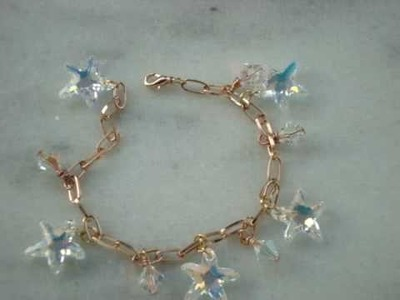 Swarovski crystal starfish charm bracelet on rose gold chain