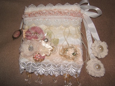Homemade Bridal Gift. A shabby chic lace sachet bag. 6-26-14