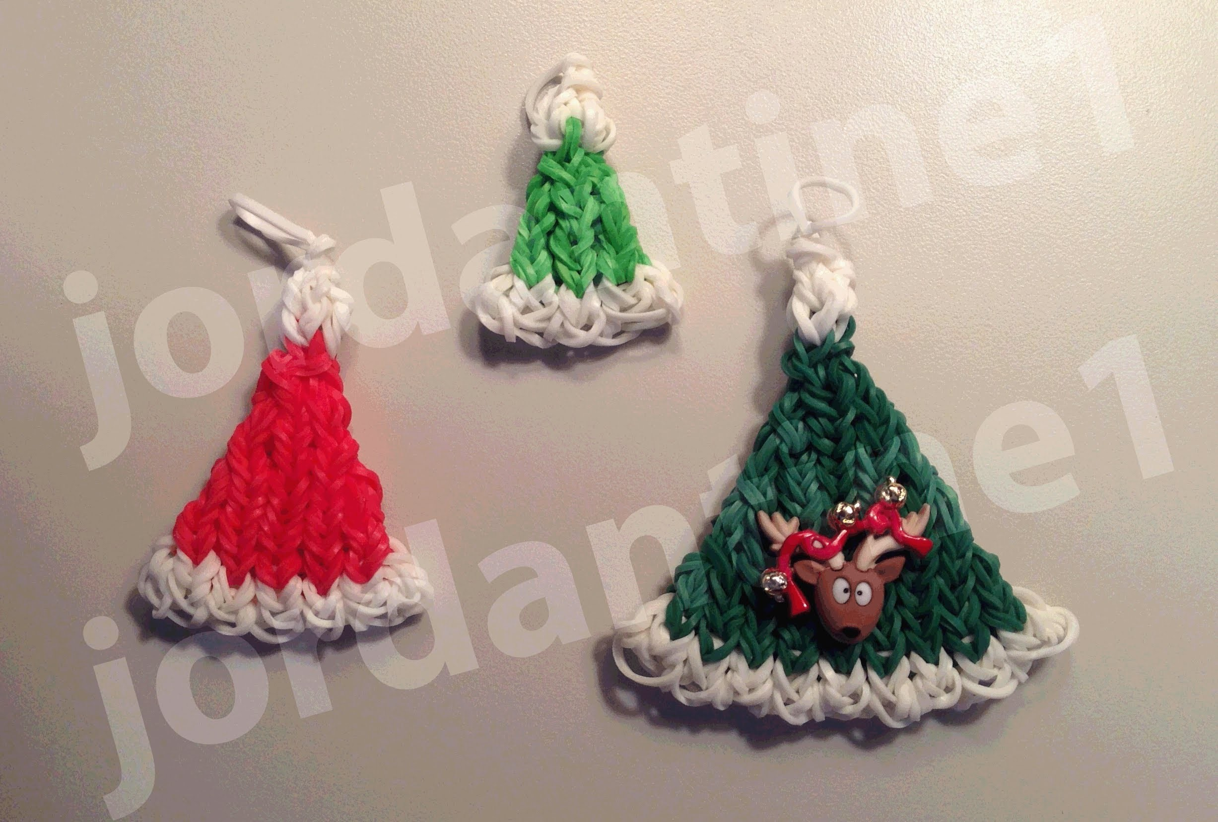 How To Make A Rainbow Loom Christmas Santa Hat Charm - Part 1