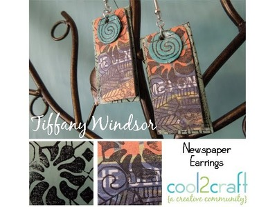 How to Make Stamped Newspaper Earrings by Tiffany Windsor