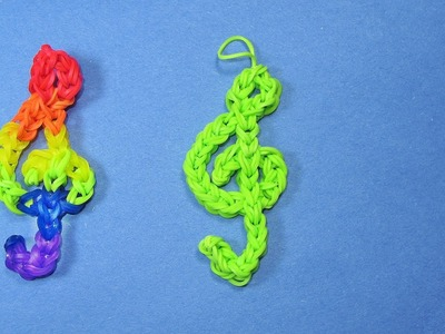 Rainbow Loom Charms: TREBLE CLEF (Music) Design on loom. bands