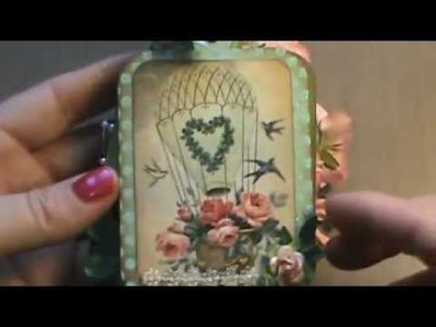 "Shabby Chic mini ""Keychain"" chipboard album"