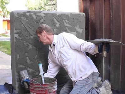 Adobe finish on Cinder block fence wall