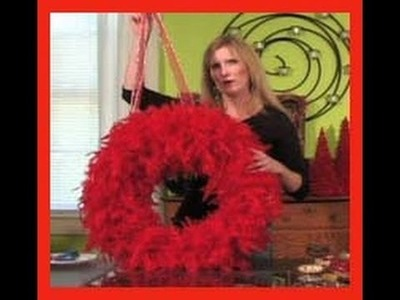 Christmas Decoration Ideas - Feather Boa Wreath and Card Holder
