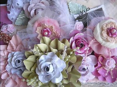 Handmade flowers for Valentine Swap!!