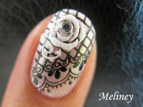 Konad Lace Stamping Nail Art Tutorial White Rhinestone Sticker Flower for short nails M57