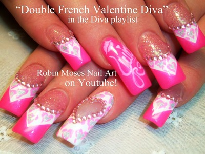 Nail Art Tutorial | Valentine's Day Nails | Neon Pink Diamond Diva Nail Design