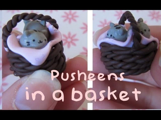 Pusheens In A Basket Tutorial: Polymer Clay Charm.