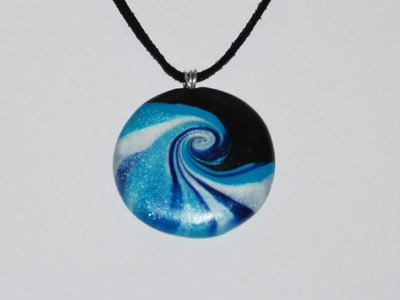 Swirled Polymer Clay Pendant - Ocean Wave