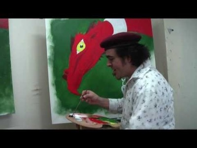 Art Lesson: How to draw and paint a Dragon using Acrylic Paint