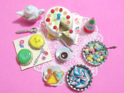 Birthday Party: 6 Polymer clay tutorials in 1: Cakes, Cookies, Gummies, marshmallows & Party hat