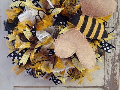 Burlap Bumblebee & Deco Paper Mesh Wreath Tutorial by Trendy Tree
