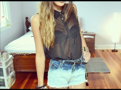 DIY: Bleached and Destroyed High-Waisted Shorts