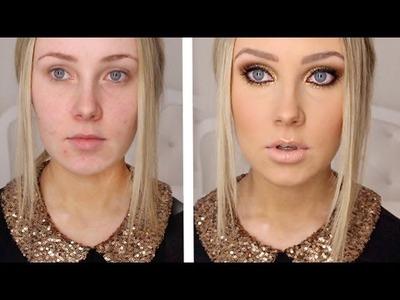 GOLD GLITTER + BRONZE Makeup Tutorial!
