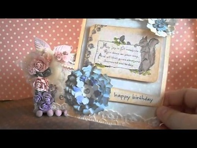 Handmade birthday card + dying flowers with watercolor