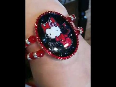 Hello kitty red devil glitter swarovski bracelet
