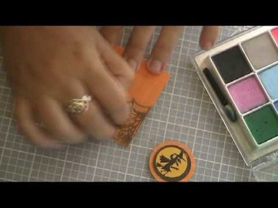 How to make a Halloween card using versamark stamp.