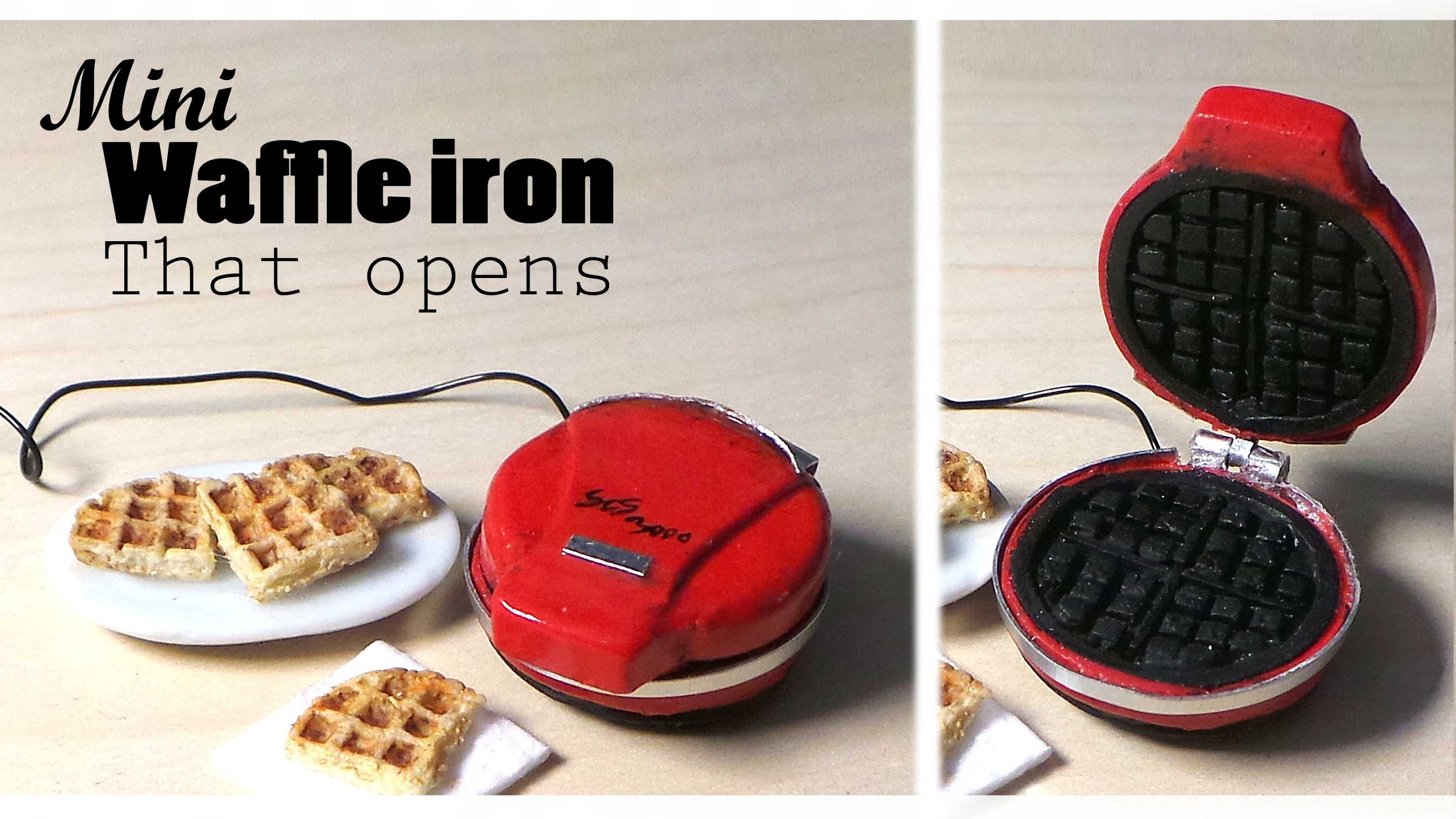 Miniature Waffle Iron (That Opens) & Waffles - Polymer Clay Tutorial